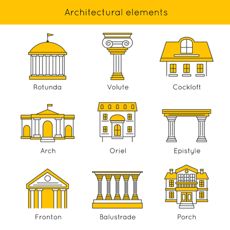 Architectonische elementen Icon Set