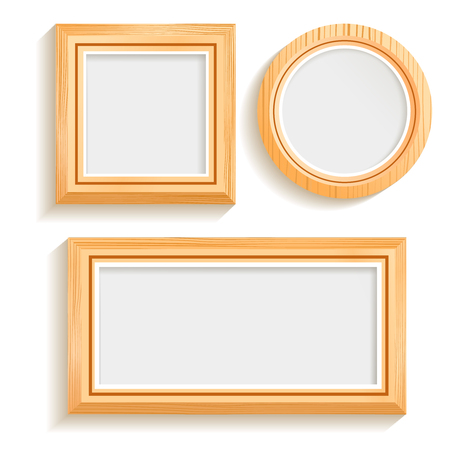 Isolated Wooden Frames Set