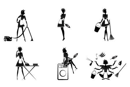 Monochrome Housekeeping Set Vettoriali