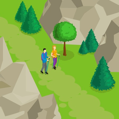 Colorful Isometric Hiking Template