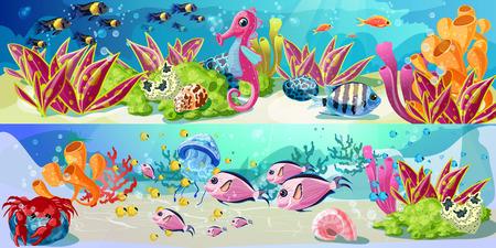 Bandiere orizzontali orizzontali di vita marina del fumetto Vettoriali