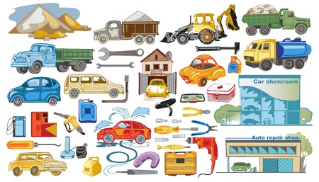 Colored cars and auto service set with trucks lorries tractor repair shop tools and automobile washing isolated vector illustration