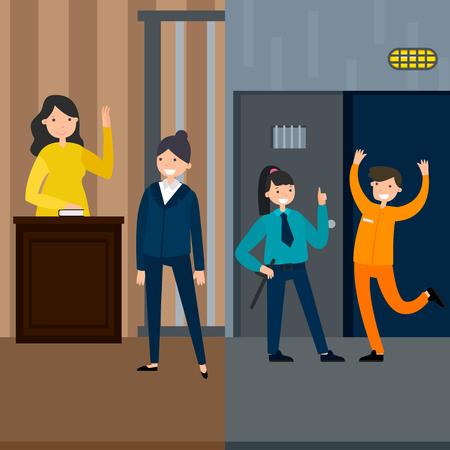 裁判所セッションの刑務所から抜け出す被告女性証人弁護士と法律システム垂直バナー ベクトル イラスト