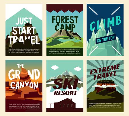 Reis berglandschap posters met verschillende heuvels voor recreatie en toerisme vectorillustratie Stock Illustratie