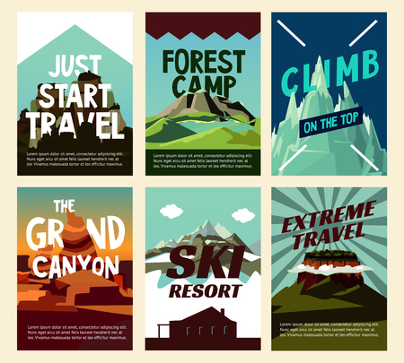 Travel mountain landscape posters with different hills for recreation and tourism vector illustration