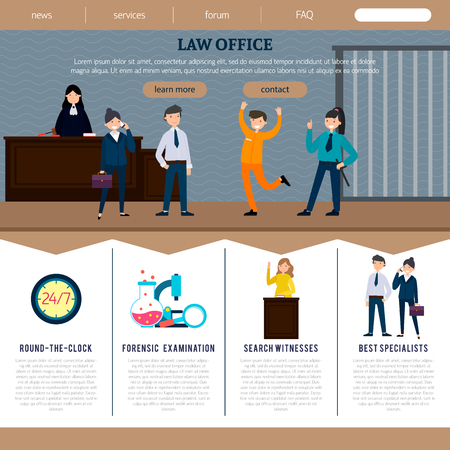 Law office web site template with court participants and judicial elements in flat style vector illustration Çizim