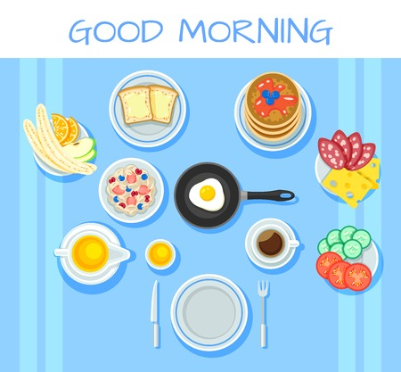 Colorful breakfast table concept with fruits vegetables cheese salami sausage muesli omelette toasts coffee honey berries isolated vector illustration
