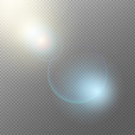 Realistic light elements concept with glowing shining sparkling effects flare spots flash on transparent background vector illustration