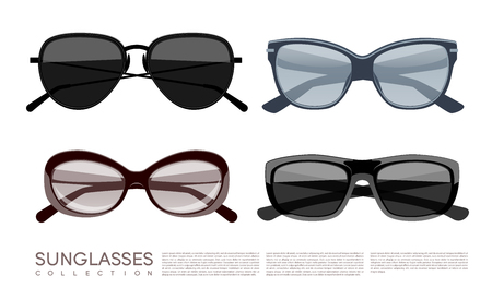 Modern Fashionable Stylish Sunglasses Set Illustration