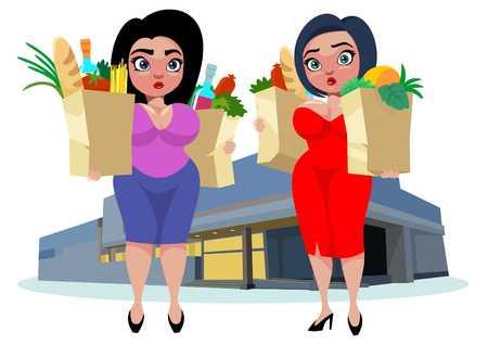 size: Cartoon Fat Women Concept Illustration