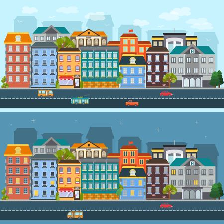City Life Horizontal Flat Banners