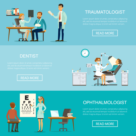 Medical examination horizontal banners with patients visiting traumatologist dentist ophthalmologist doctors for health checking and diagnostic vector illustration