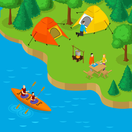 Isometric camping and active recreation concept with people placing tents in forest and couple in boat on river vector illustration