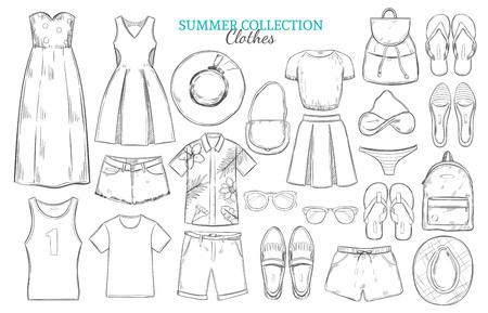short trip: Hand Drawn Summer Wardrobe Elements Set Illustration
