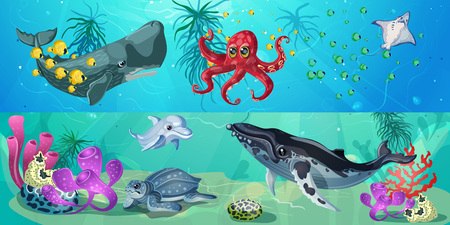 Cartoon underwater life horizontal banners with whales octopus fishes turtle stingray seaweeds and corals vector illustration