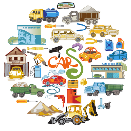 Colored Cars Elements Round Concept Illustration