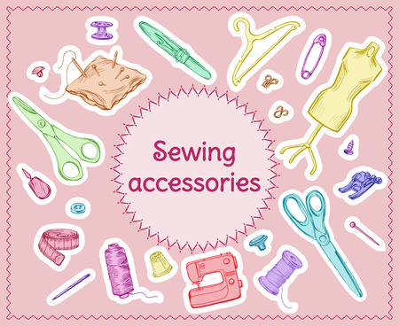 Colored Sketch Sewing Tools Set Illustration