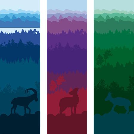 Wild Animals Vertical Banners