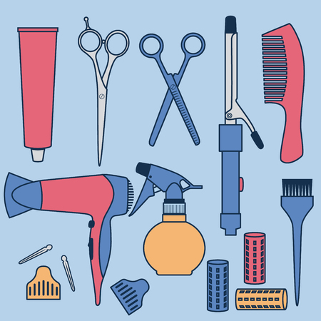 Drawing Hairdressing Accessories Collection Illustration