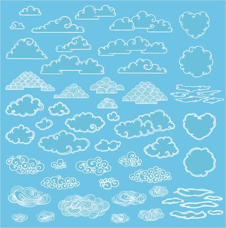 size: Doodle Elegant White Clouds Collection Illustration