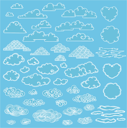 Doodle Elegant White Clouds Collection Illustration