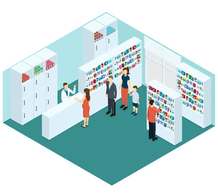Colorful Isometric Pharmacy Concept Stock Vector - 78225566