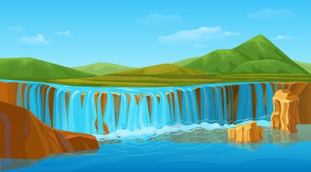 Cartoon Colorful Summer Nature Landscape Template Banco de Imagens