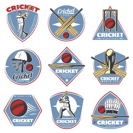 Gekleurde Vintage Cricket logos Set Stockfoto
