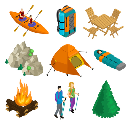 hiking: Isometric Camping Elements Set Illustration