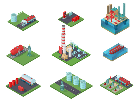 Isometric Oil Industry Set Illustration