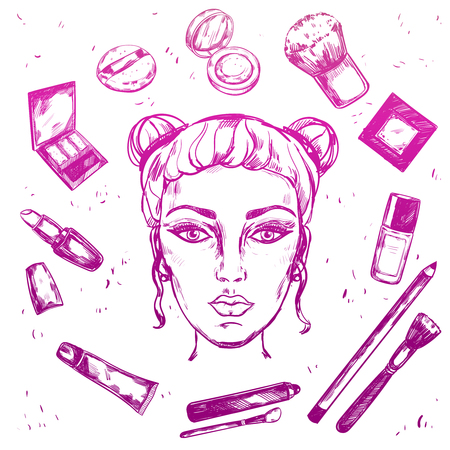 Hand Drawn Make Up Composition Illustration