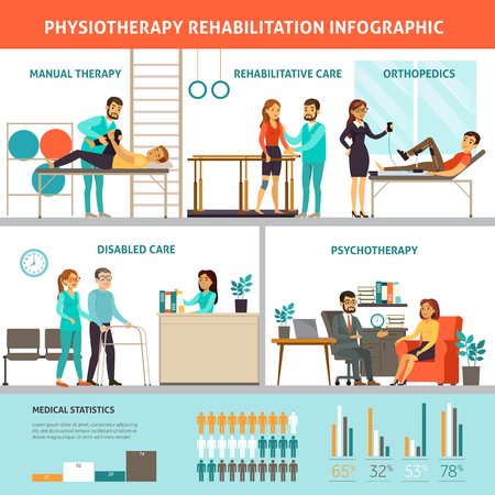 Physiotherapy And Rehabilitation Infographic Vetores