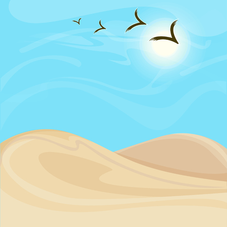Bright Hot Desert Landscape Background Ilustração