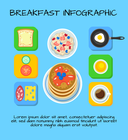 Colorful Breakfast Food Infographic Concept Illustration