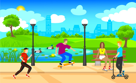 skateboard park: Colorful Active Leisure Background