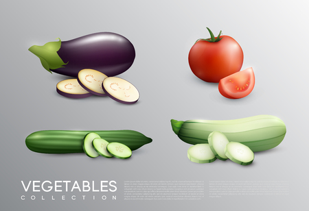 Realistic Fresh Vegetables Set Illustration