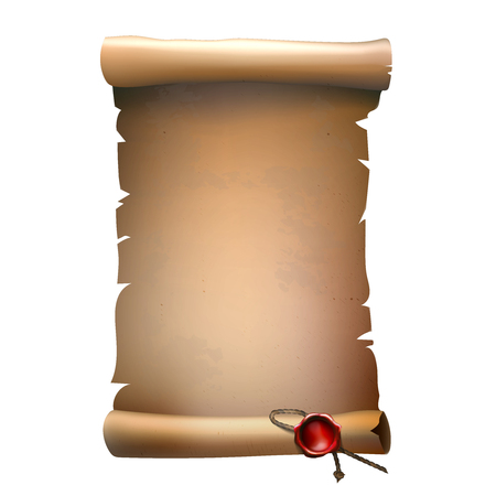 Single old paper scroll with damaged edged and red wax seal with rope isolated vector illustration