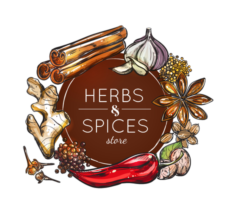 Colored spice and herb store emblem with spices for use in different dishes illustration.