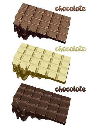 Colorful melted chocolate blocks set on white background vector illustration