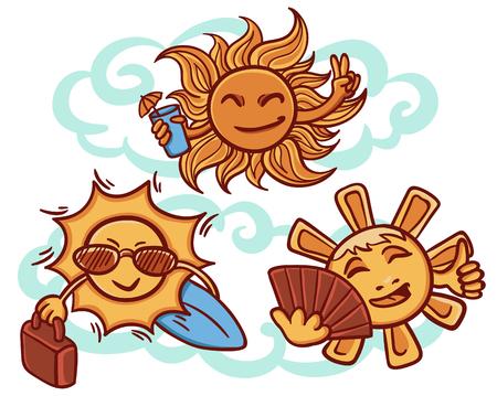 カクテル、残りのコンセプトにカラフルな太陽バッグ、サーフボード、サングラスとファンの手で描かれたスタイルのベクトル図