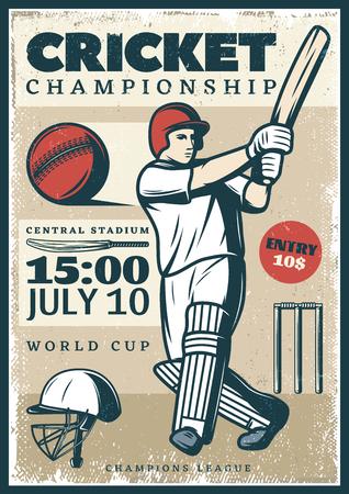 Vintage cricket kampioenschap sport poster met professionele speler die vleermuis cap bal en wicket vector illustratie Stock Illustratie