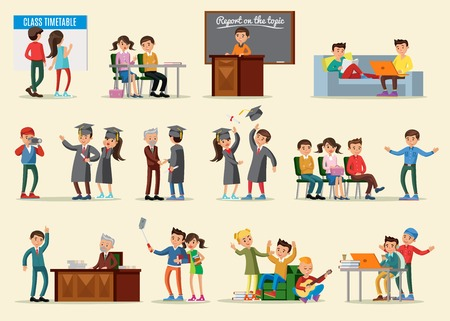 People in university collection with graduation celebration and students in different situations isolated vector illustration