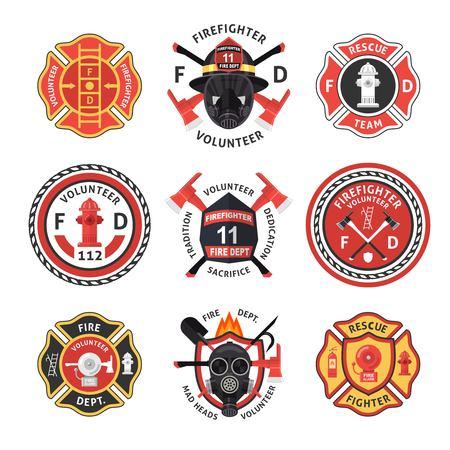Ensemble d'étiquettes de pompier Vecteurs