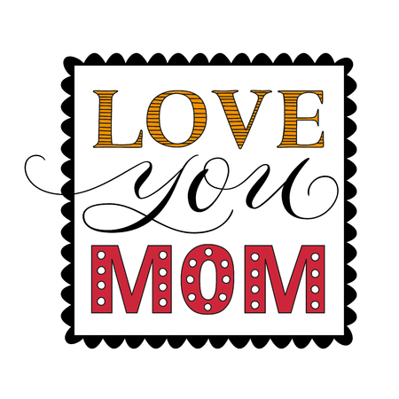 Happy Mothers Day congratulatory square template with elegant calligraphic light lettering isolated vector illustration Иллюстрация