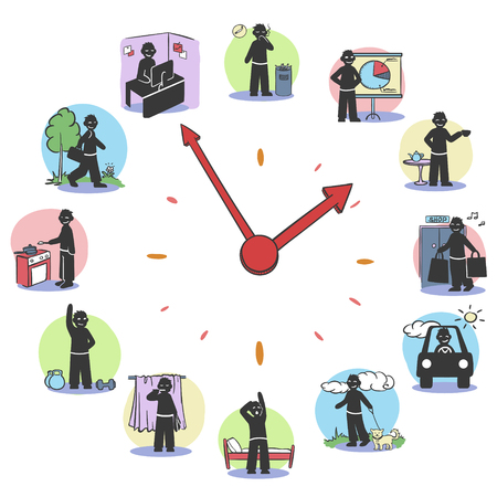 Daily routine clock characters concept with man doing different activities during day isolated vector illustration