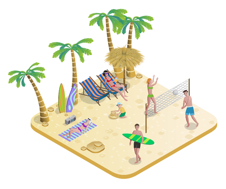 recliner: Isometric People On Tropical Beach Concept Illustration