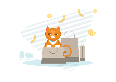 Hunting cat concept with cute red kitten sitting in shopping bag and keeps track of mouse vector illustration