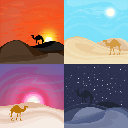 Colorful sand desert landscape templates with camel silhouettes at different day time vector illustration