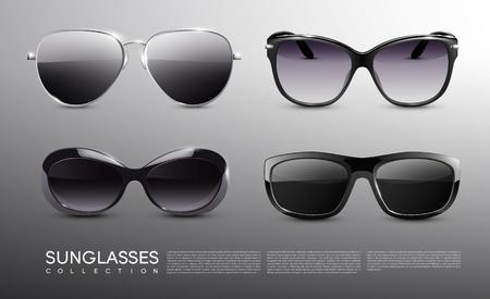 Réaliste lunettes de soleil à la mode ensemble Banque d'images - 78270466