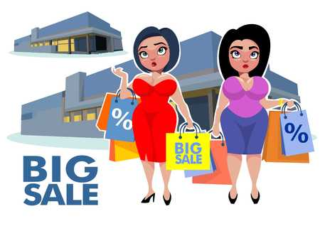 plus size: Plus size bodies fashion concept with store buildings and fat women holding shopping bags vector illustration